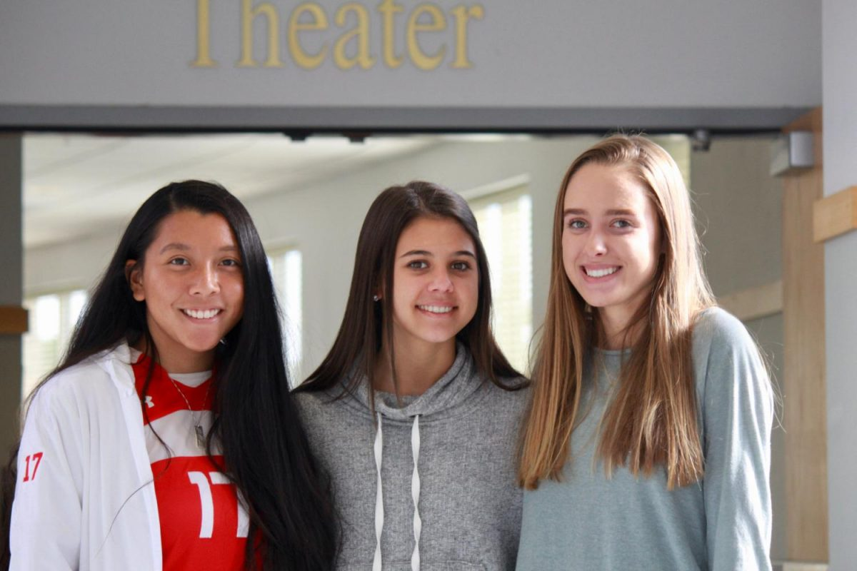 Seniors+Kay+Franzese%2C+Jessica+Hill%2C+and+Anna+Keller+are+all+new+students+at+BSM+this+year.
