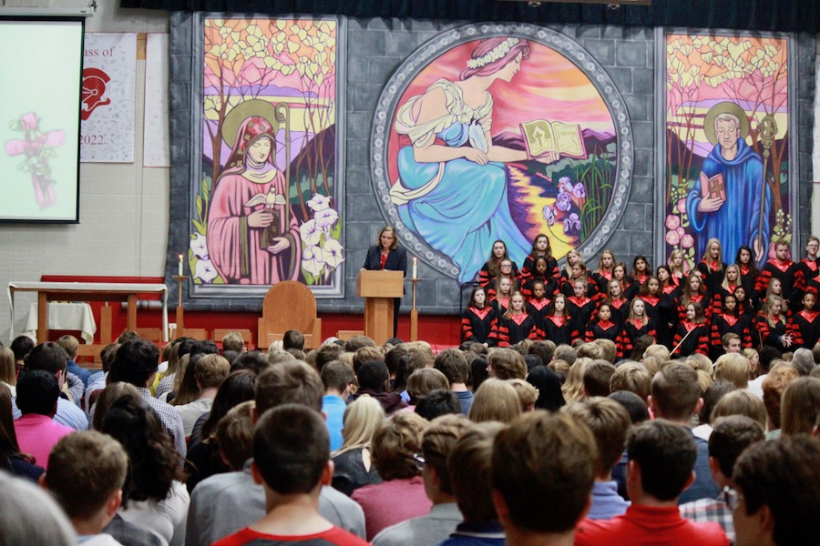 Dr. Skinner addresses students at the first school mass of the year.
