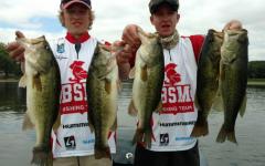 Juniors Cole Zeman and Jack Klassen show off their catches.