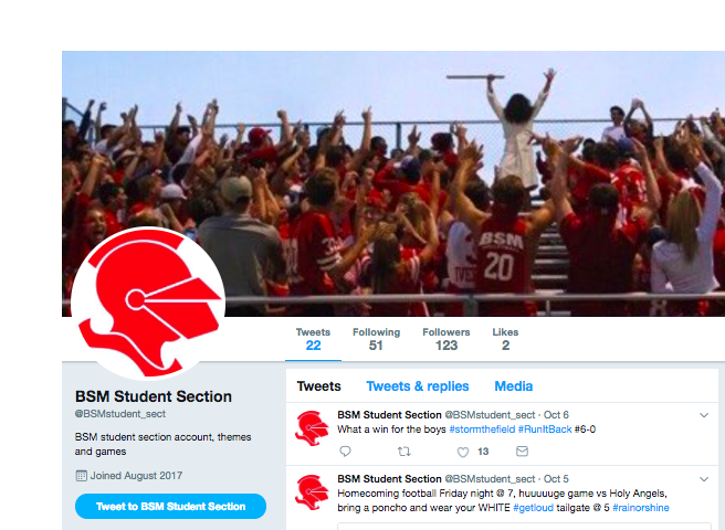 The BSM Student Section Twitter helps to keep students updated on important school events.