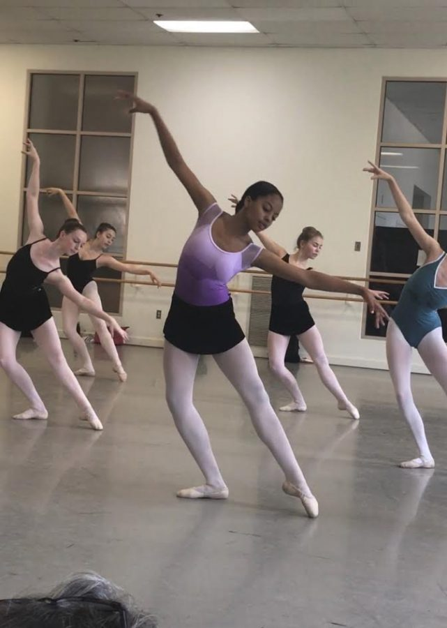 Winston trains with other hard working ballerinas.