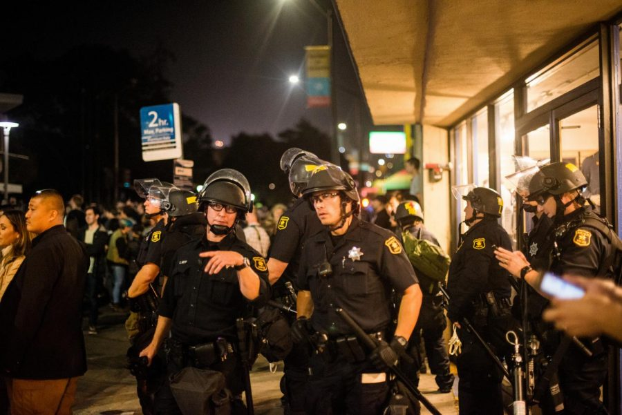 Police intervened in protests when conservative columnist Ben Shapiro came to University of California Berkeley.