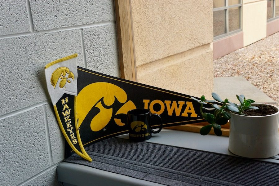 English teacher Mr. Ryan Hogan decorated his room with Iowa gear to represent his heritage.