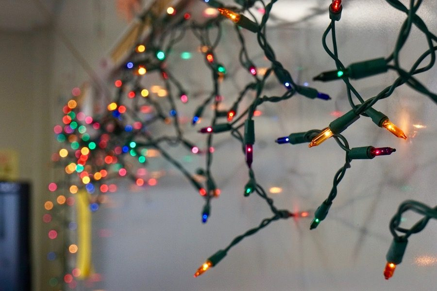 English teacher Kaia Preus uses lights as part of her decorations.