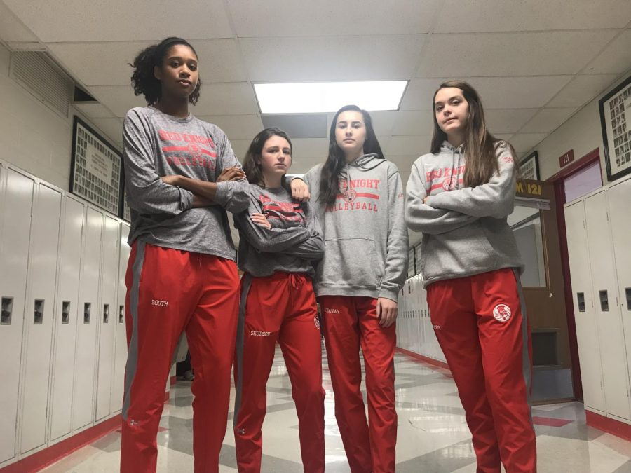 Girls' volleyball players show off their gameday dress up outfit.