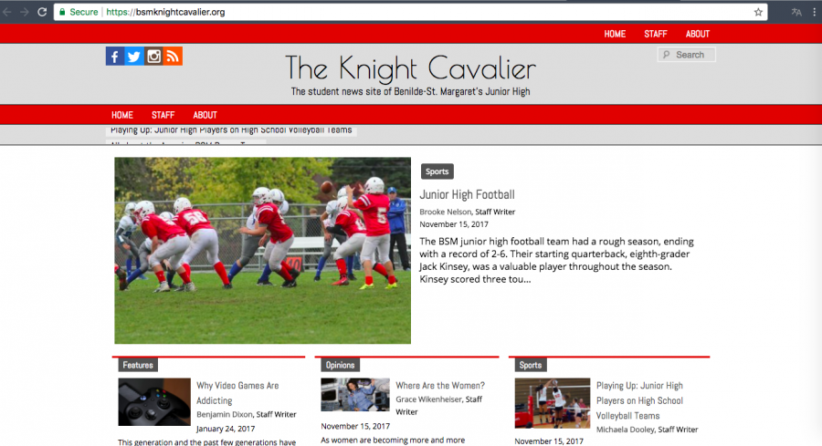 The+Knight+Cavalier+is+BSM%27s+junior+high+newspaper.