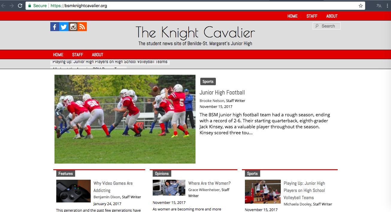 The Knight Cavalier is BSM's junior high newspaper.