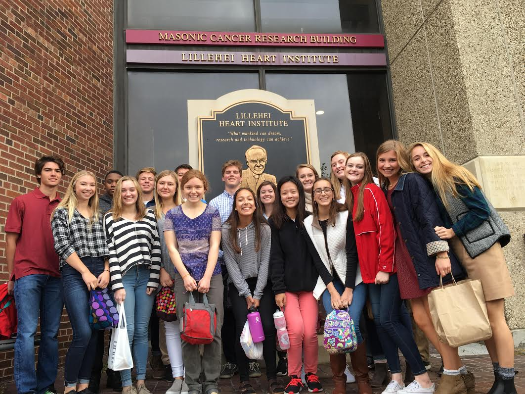 The biomedical students wait outside the U of M for their field trip.