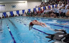 Sophomore Bridget Baker dives off the starting block.