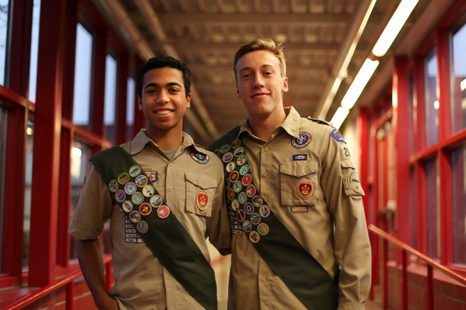 Seniors Sam Charles and James Norkosky help their communities through the Scout program.