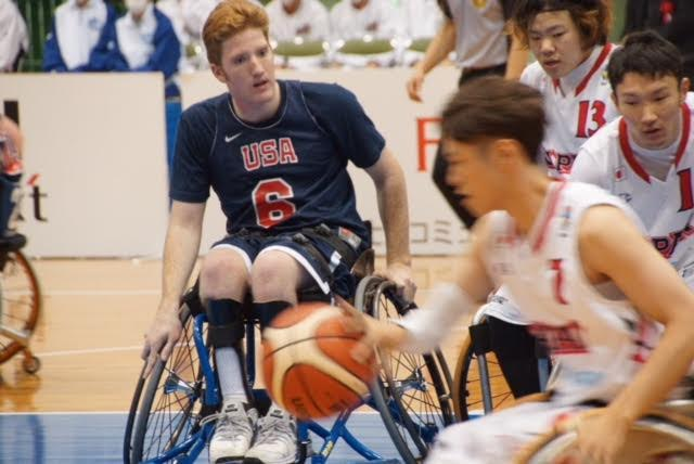 Gordon back-checking in a game against Japan.