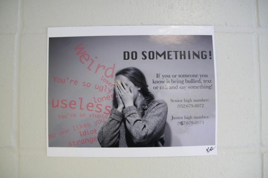 Pictures around the school have been put up to prevent bullying.