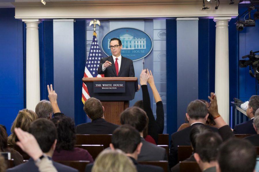 Secretary of the Treasury Steven Mnuchin holding a press conference.