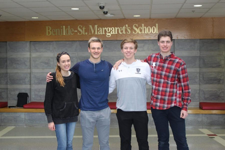 The salutatorians (from left to right) are Anna Keller, Michael Hunter, Quinn Ehlen, and Ian Black.