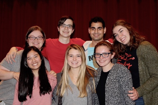 High school students help direct the junior high musical