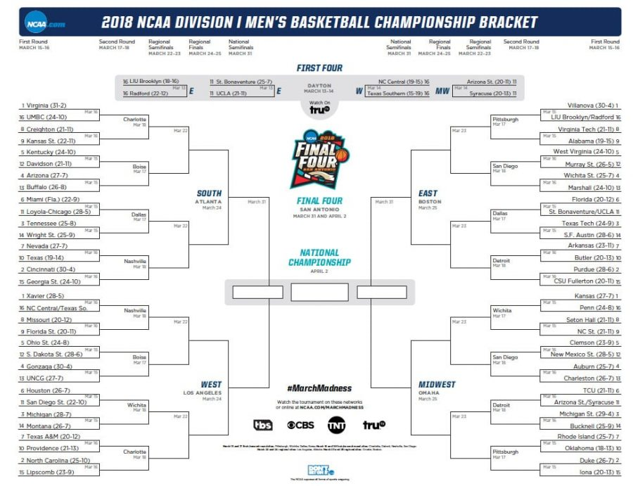 BSM+students+fill+out+March+Madness+bracket+in+hopes+of+success.