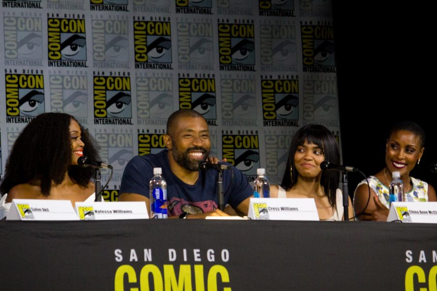 The+cast+of+Black+Lighting+speak+at+a+panel+at+SDCC+2017.+Notable+actors+in+the+show+include+Cress+Williams+and+China+Anne+McClain.+