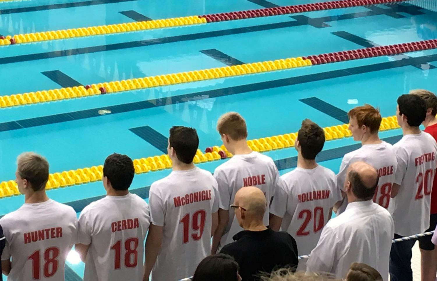 The State swimmers and alternates lined up at the State Meet.