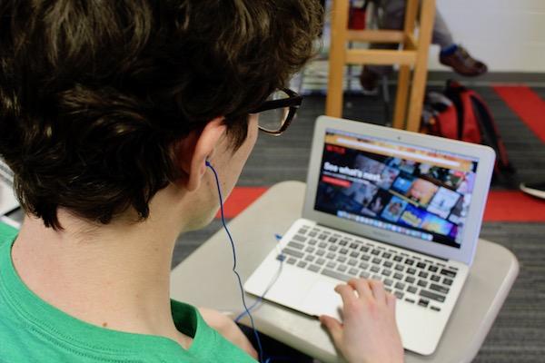 Brendan Lempe starts watching Netflix during class.