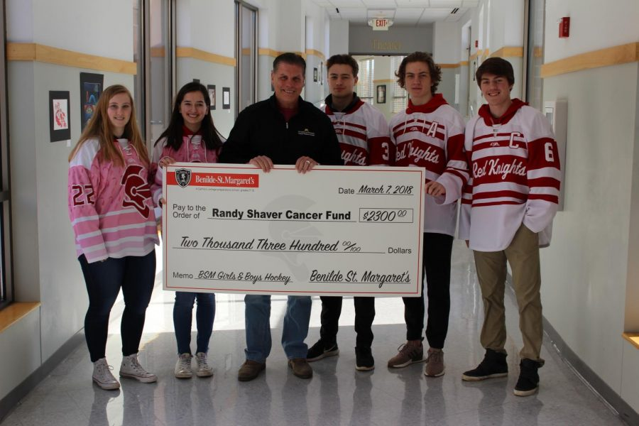 Hockey+captains+presented++Randy+Shaver+with+a+check+for+%242300.+Both+teams+held++a+fundraiser+this+past+season+in+to+support+the+Randy+Shaver+Cancer+Fund.