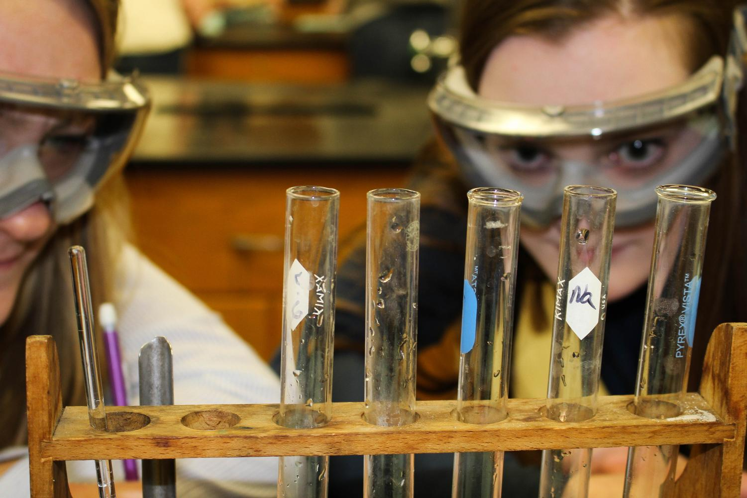 Juniors Frannie Scherer and Megan Daubenberger examine solutions during a lab in their honors chemistry class. Next year, AP chemistry will be offered as a second-year class for those students interested in a science field.
