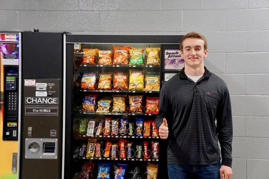Senior Jordan Frantz shattered the glass in the lunchroom's vending machine.