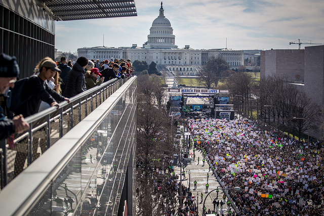 Over+a+million+protestors+marched+against+inaction+on+gun+violence+in+America.
