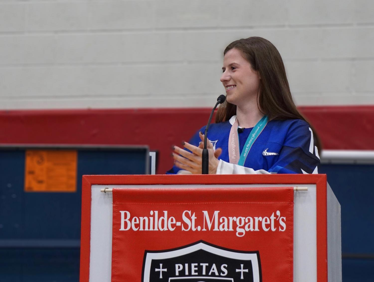 Alum Kelly Pannek returned to BSM to be recognized for her success in the 2018 Olympics. She played a key role in the success of the U.S. Women's  National Hockey team.