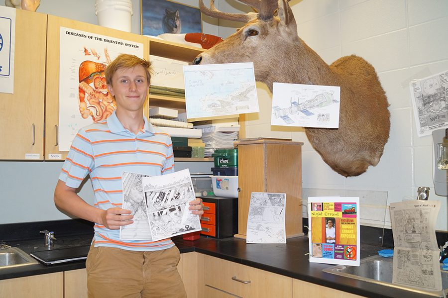 Senior John Beutz is well known for his scientific achievements and creative writing skills.
