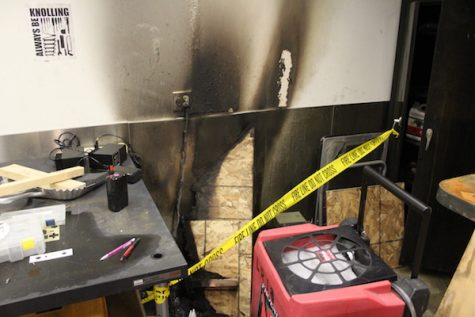Engineering room catches fire