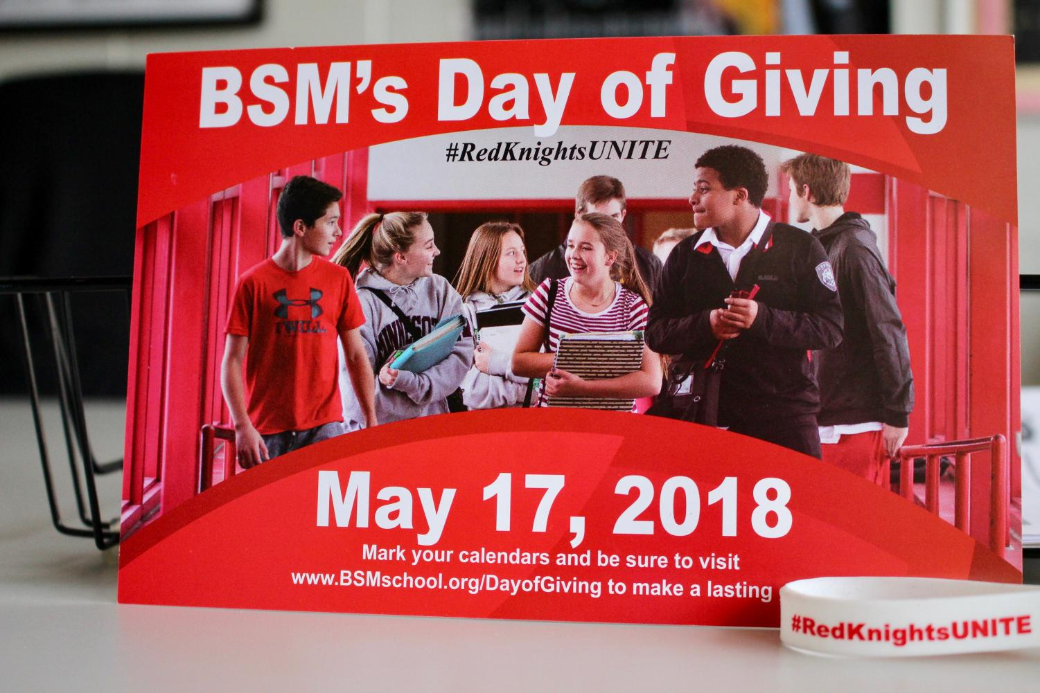 BSM's annual Day of Giving promotes donations from the BSM community which cover the costs to run the school that student tuition doesn't. This is a day-long event that is taking place on May 17, 2018.