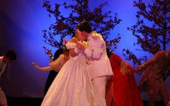 Cinderella and Prince Topher share a kiss. Cinderella was played by senior Brielle Baker, and Prince Topher was played by senior Will Krane.