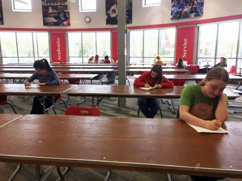 Students take Advanced Placement Tests for the opportunity to get college credit