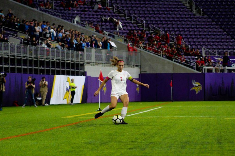 Senior Amanda Cassidy boots a free kick.