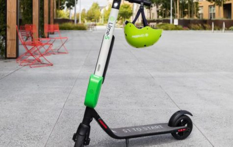 The Lime scooters have a dazzling green design with a matching helmet.