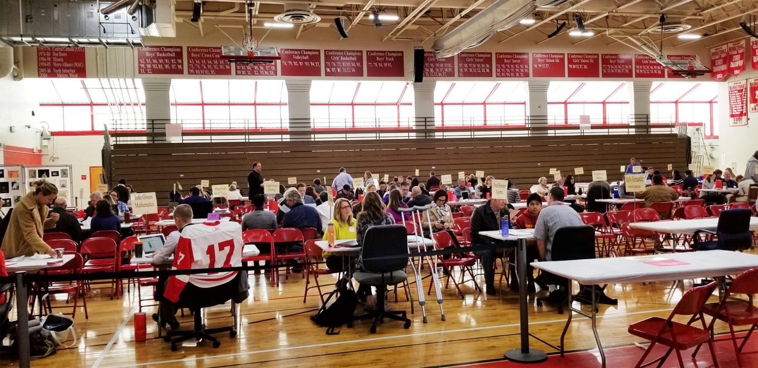 Teachers gathered in the Great Hall with parents this past October for conferences.  This was the first time conferences weren't held in November.