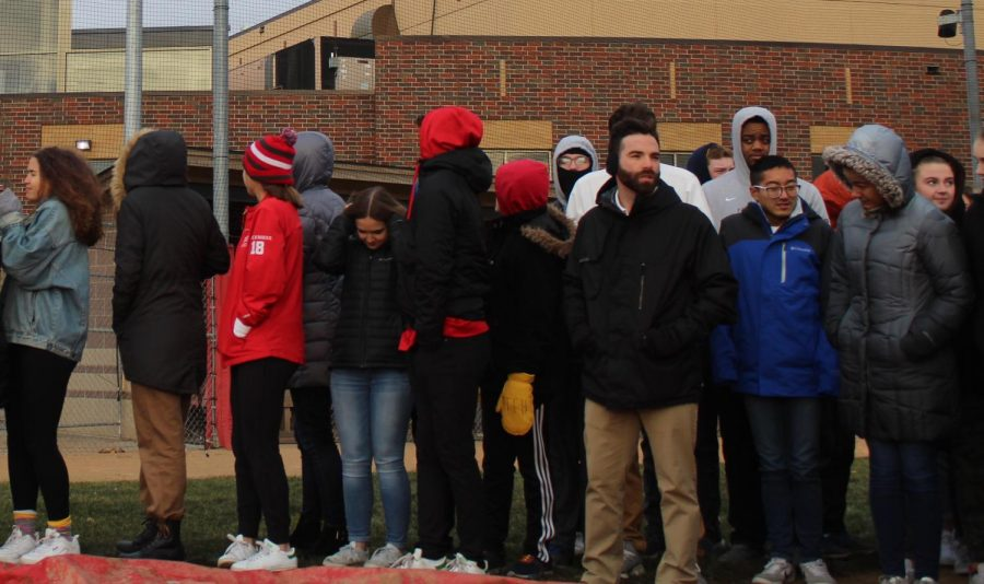 Students braved 19 degree weather in order to attend the ceremony.