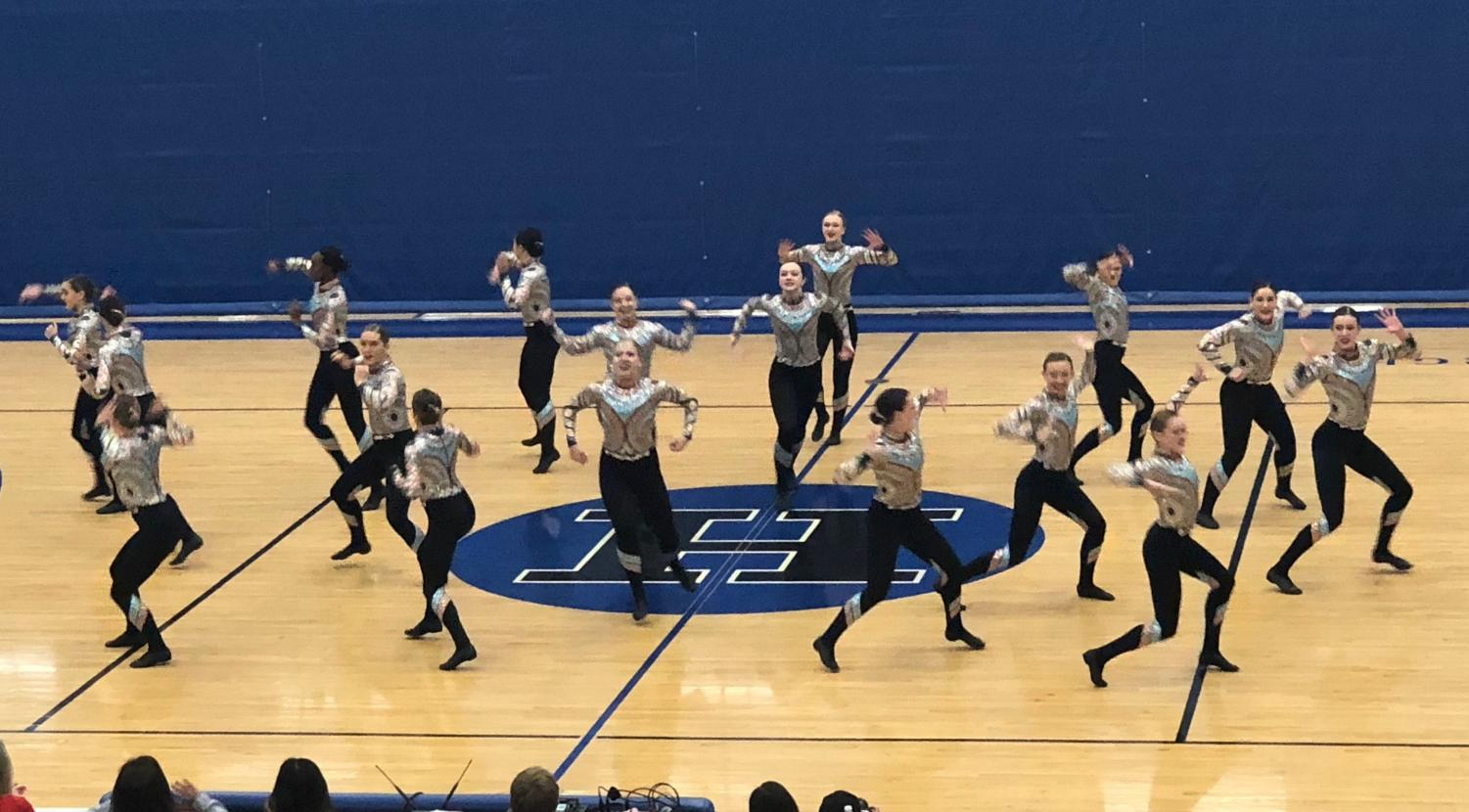 BSM dance team dancing at their first invite of the year.