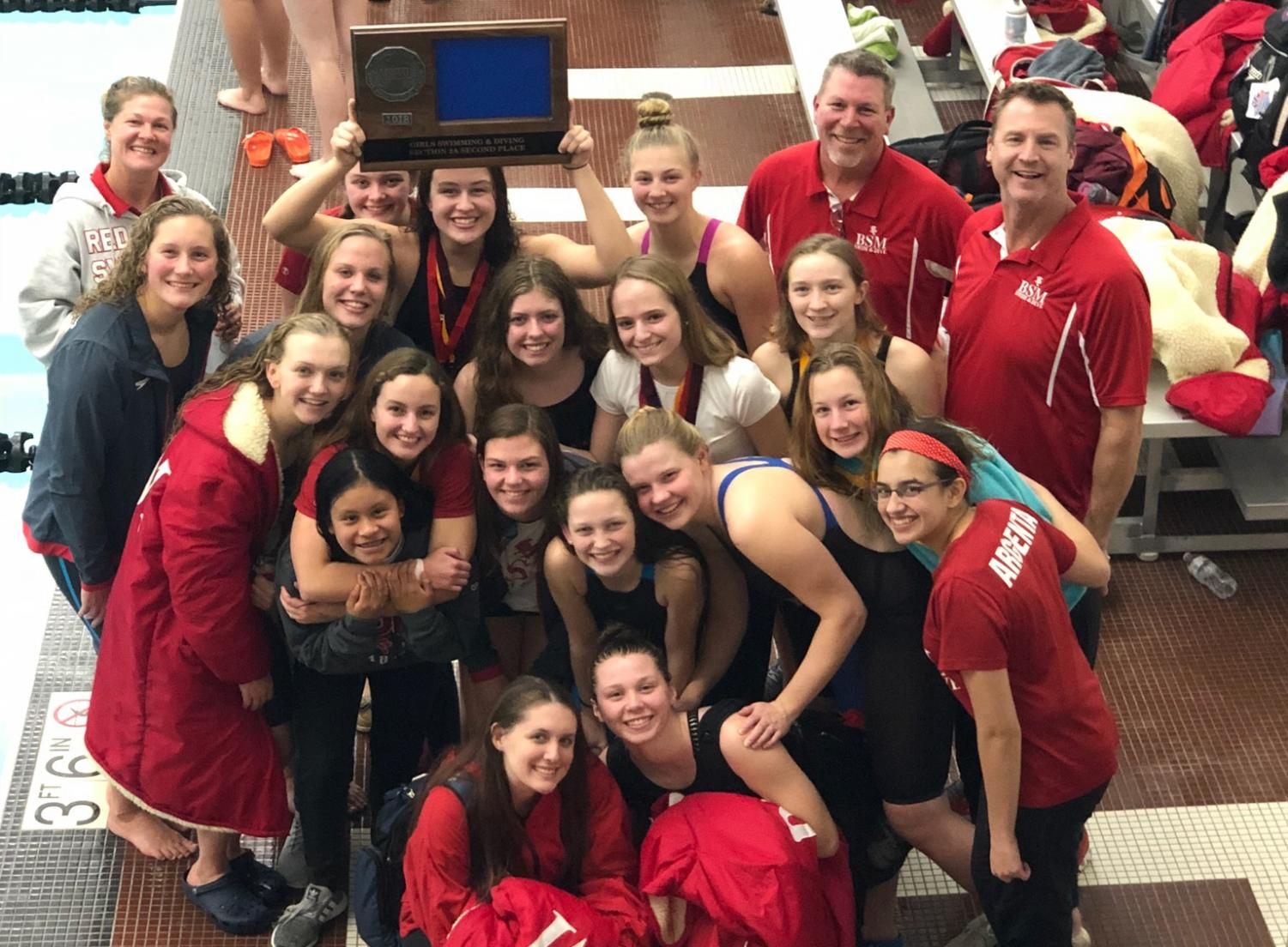 Girls' Swim places second at Section 2A and sends several racers to State.