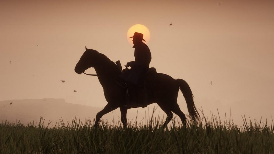 A+cowboy+riding+his+horse+during+the+sunset