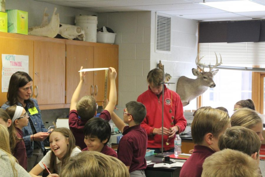BSM students helped run the experiments with the visitors.
