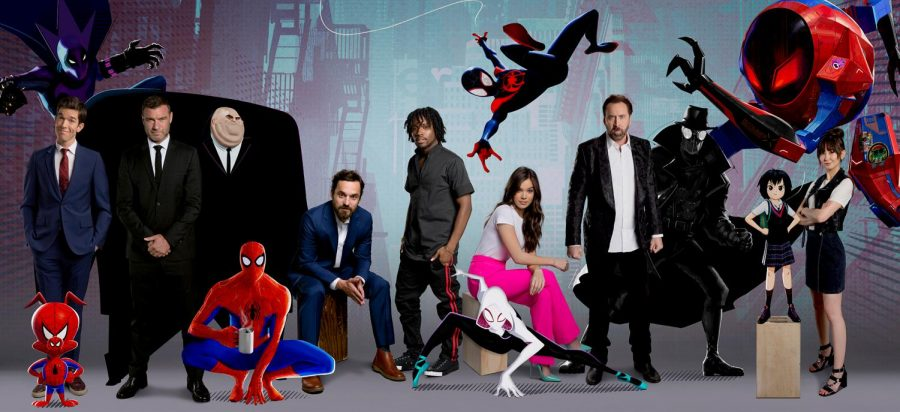 Voice+actors%2C+shown+here%2C+brought+the+audio+of+%22Spider-Man%3A+Into+the+Spider-Verse%22+to+life.+Tony+Siruno+got+to+design+Uncle+Aaron+and+the+Prowler%2C+pictured+in+the+upper+left+corner+of+the+image.