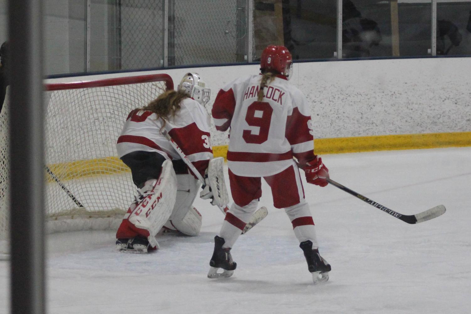 Sophomore Abby Hancock defending the goal.