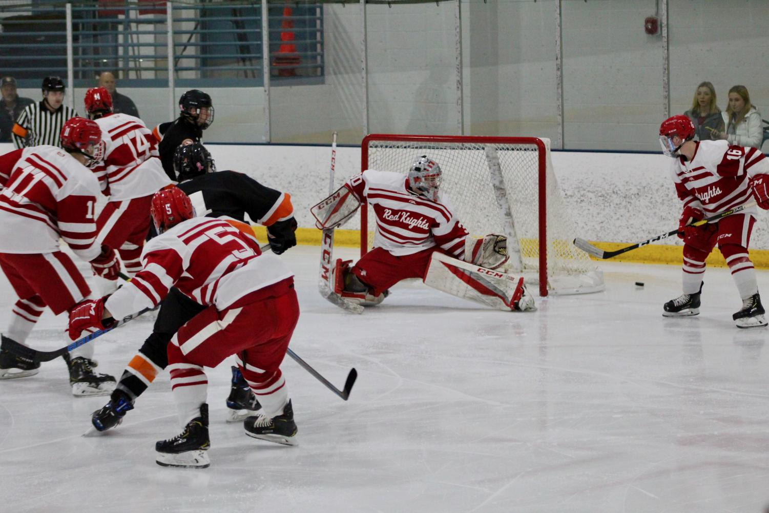 BSM boys' defend well in order to prevent a goal.