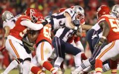 Patriots #34 Rex Burkhead dives over the goal-line for a late game touchdown.