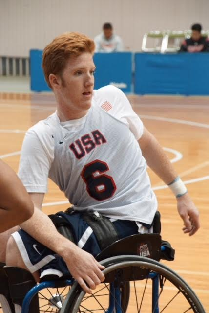 Senior Grady Gordon playing for the USA National team for wheel chair basketball.