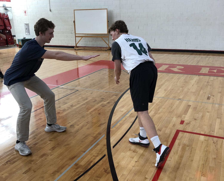 Junior Christian Lerch  dribbles past his defender.