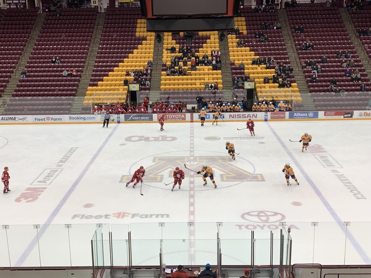The big conference game between the #8 BSM Red Knights and #15 Chaska Hawks was played February 11 at 3M Arena at Mariucci, the home of the Gophers.
