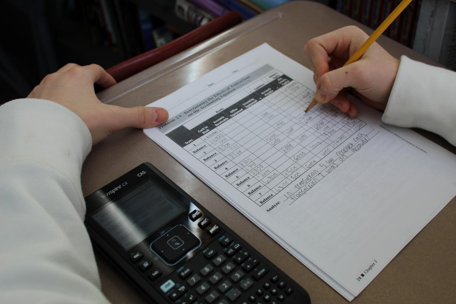 The accounting class is one of the most popular business electives at BSM.