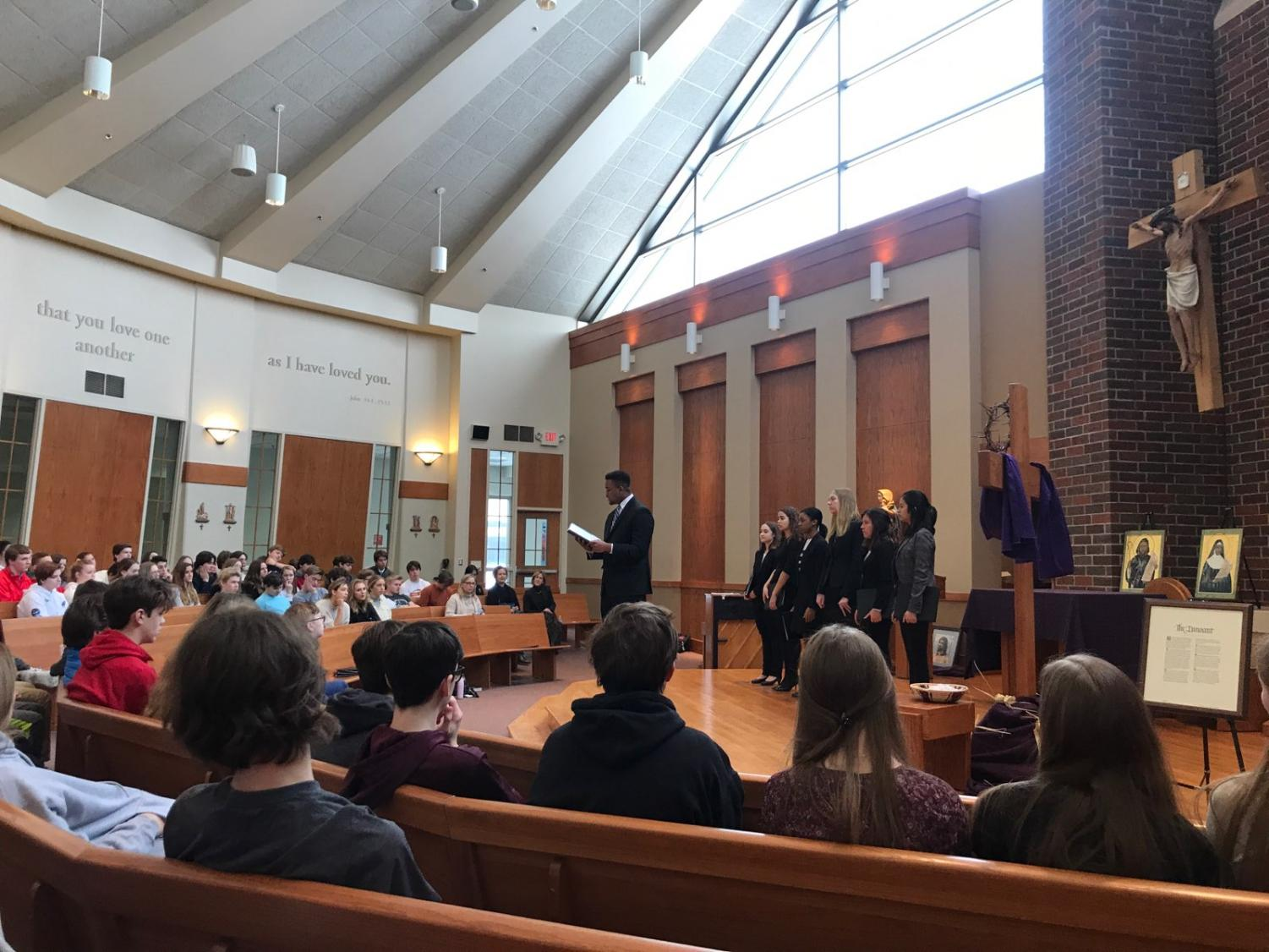 Varsity Speech Students in presenting in the Chapel.